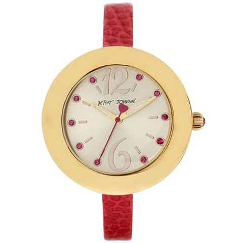 Betsey Johnson BJ00442-03 Analog Display Quartz Watch, Pink Leather Band, Round 38mm Case