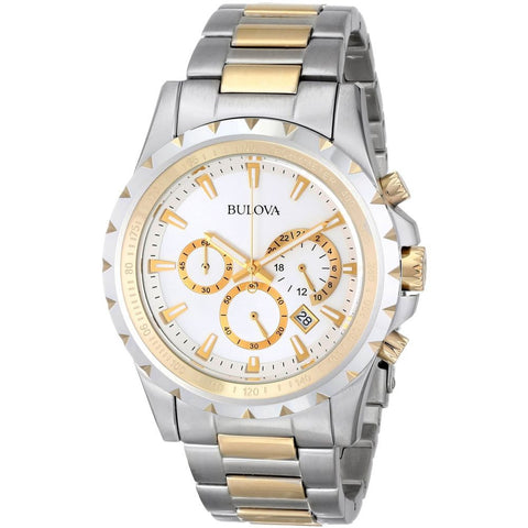 Bulova 98B014 Classic Analog Display Chronograph Quartz Watch, Silver/Gold Stainless Steel Band, Round 42mm Case