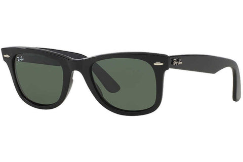 Ray-Ban RB2140 901 Original Wayfarer Sunglasses, Black Frame, Green Classic 54mm Lenses