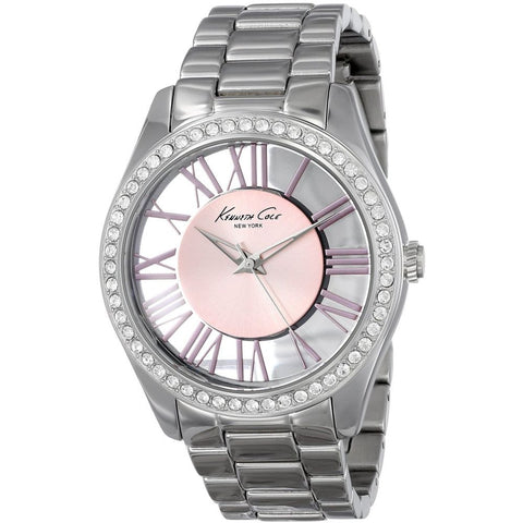 Kenneth Cole KC4982 Transparent Women's Analog Quartz Watch, Silver Band, Round 39mm Case