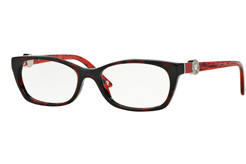 Versace VE3164 989 Eyeglasses, Red Havana Frame, Clear 51mm Lenses