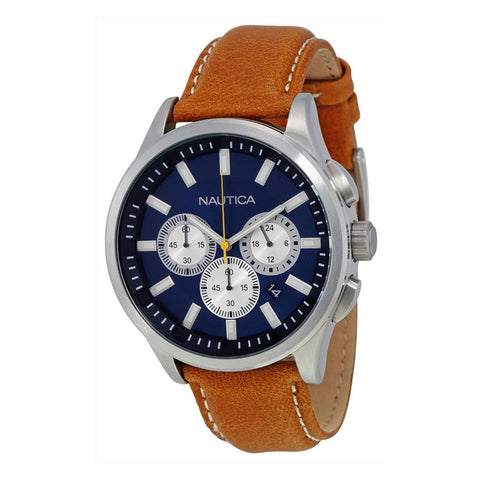 Nautica N16695G NCT 17 Men's Analog Display Quartz Watch, Brown Leather Band, Round 44mm Case