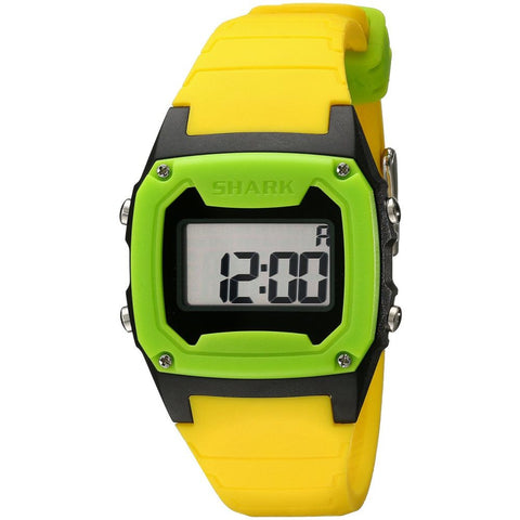 Freestyle Unisex 101808 Shark Classic Neon/Black/Green Digital Watch, Yellow Silicone Band, Tonneau 37mm Case