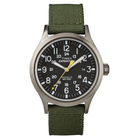 Timex T499619J Expedition Scout Men's Analog Display Quartz Watch, Green Nylon Band, Round 40mm Case