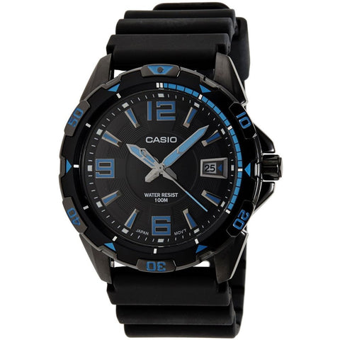 Casio MTD-1065B-1A1VDF Enticer Analog Display Quartz Watch, Black Resin Band, Round 44.6mm Case
