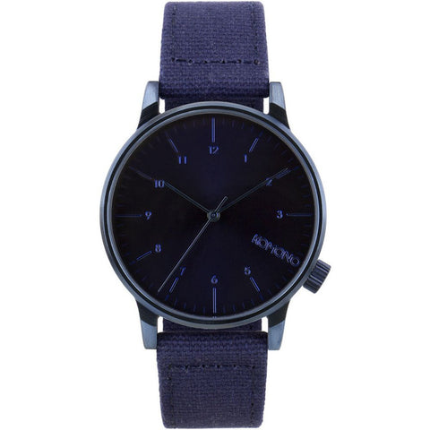 Komono KOM-W2111 Winston Heritage Monotone Blue Analog Quartz Watch, Blue Canvas Band, Round 41mm Case