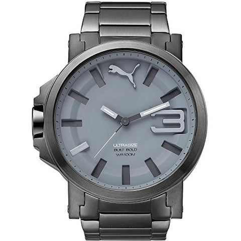 Puma PU103911004 Ultrasize Men's Analog Display Quartz Watch, Gunmetal Stainless Steel Band, Round 50mm Case