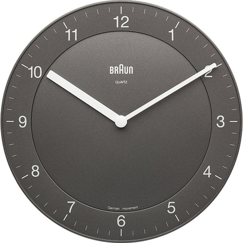 Braun BNC006GYGY Classic Analog Display German Quartz Wall Clock, Round 201mm Case, Grey