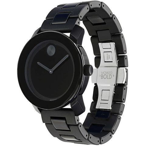 Movado 3600047 Bold Analog Display Quartz Watch, Black TR90 Composite Material and Stainless Steel Band, Round 42mm Case