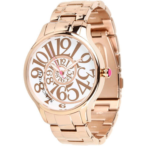 Betsey Johnson BJ00040-14 Women's Analog Display Quartz Watch - Rose Gold Bracelet - Round 39mm Case