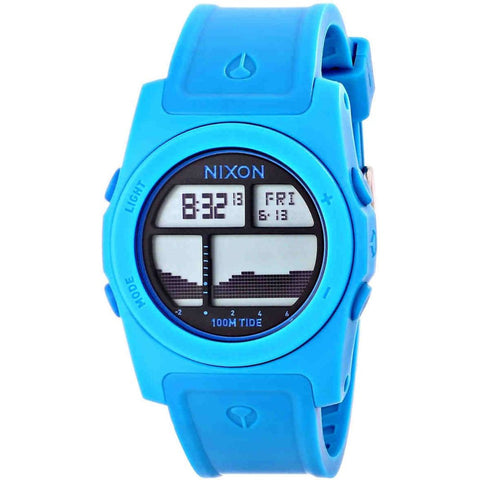 Nixon A385917 Men's Rhythm Sky Blue Digital Watch, Sky Blue Polyurethane Band, Round 41mm Case