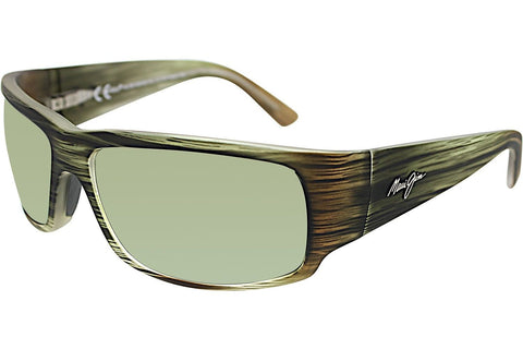 Maui Jim HT266-15MR World Cup Sunglasses, Matte Green Stripe Rubber Frame, Polarized Maui HT 64mm Lenses