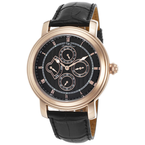 Lucien Piccard LP-40009-RG-01 Valarta Men's Analog Display Quartz Watch, Black Leather Band, Round 45mm Case