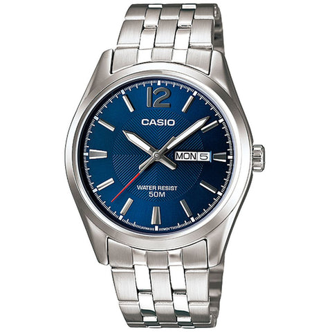Casio MTP-1335D-2AVDF Analog Display Quartz Watch, Silver Stainless Steel Band, Round 38mm Case