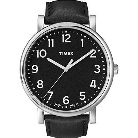 Timex T2N339 Originals Men's Analog Display Quartz Watch, Black Leather Band, Round 42mm Case