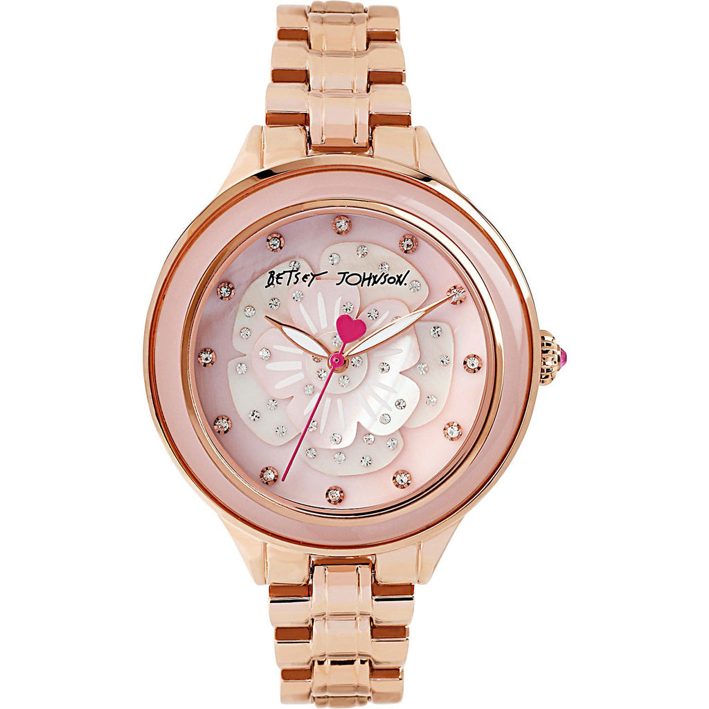 Betsey Johnson BJ00469-04 Women's Analog Display Quartz Watch - Rose Gold Bracelet - Round 41mm Case
