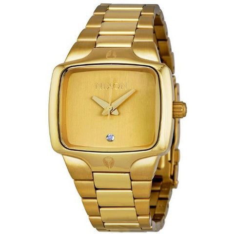Nixon A300511 Women's Small Player All Gold/Gold Analog Watch, Gold Stainless Steel Band, Square 33mm Case