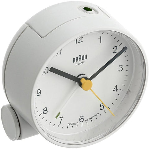 Braun BNC001WHWH Classic Analog Display Quartz Alarm Clock, White Round Case