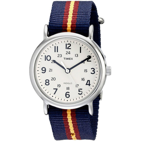 Timex T2P234 Unisex Weekender Analog Display Quartz Watch, Multicolor Nylon Band, Round 38mm Case