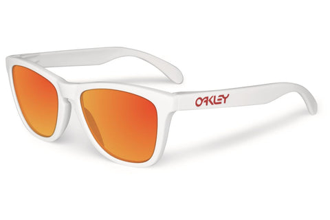 Oakley OO9013-24 Men's Retro Square Frogskins Sunglasses, Polished White Frame, Ruby 55mm Lenses
