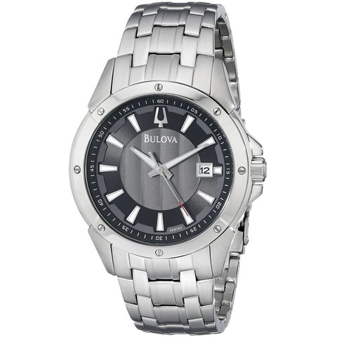 Bulova 96B169 Classic Analog Display Quartz Watch, Silver Stainless Steel Band, Round 43mm Case