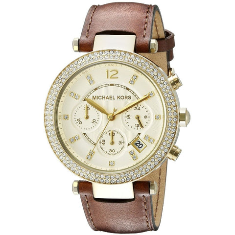 Michael Kors MK2249 Parker Analog Display Chronograph Quartz Watch, Brown Leather Band, Round 39mm Case