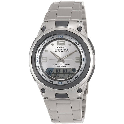 Casio AW-82D-7AVDF Fishing Gear Analog/Digital Display Quartz Watch, Silver Stainless Steel Band, Round 40mm Case