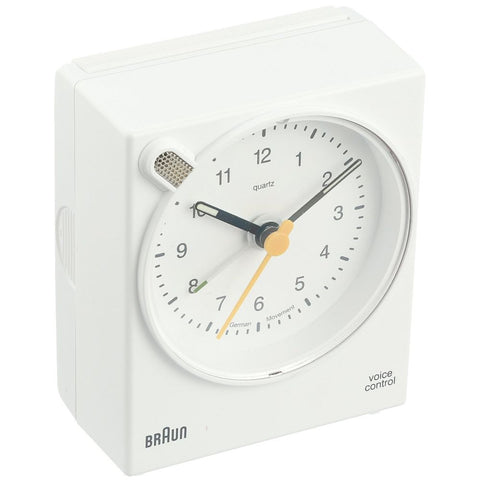 Braun BNC004WHWH Voice Activated Analog Display Quartz Alarm Clock, White Rectangle Case
