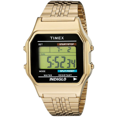 Timex TW2P48200AB Originals Digital Display Quartz Watch, Gold-Tone Stainless Steel Band, Square 35mm Case