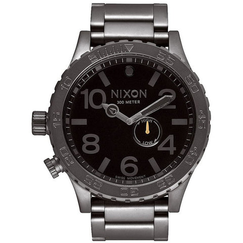 Nixon A057680 Men's 51-30 Tide All Gunmetal/Black Analog Watch, Gunmetal Stainless Steel Band, Round 51mm Case