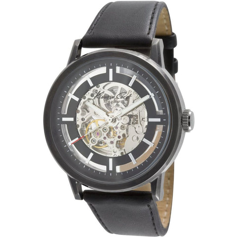 Kenneth Cole KC1632 Men's Analog Display Automatic Watch, Black Leather Band, Round 46mm Case