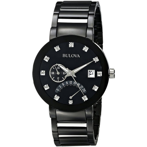 Bulova 98D109 Diamond Men's Analog Display Quartz Watch, Black Stainless Steel Band, Round 40mm Case