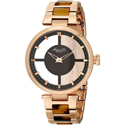 Kenneth Cole KC4766 Transparent Women's Analog Quartz Watch, Stainless Steel Rose Gold Ionic Plated and Tortoise Polycarbonate Link Band, Round 36mm Case