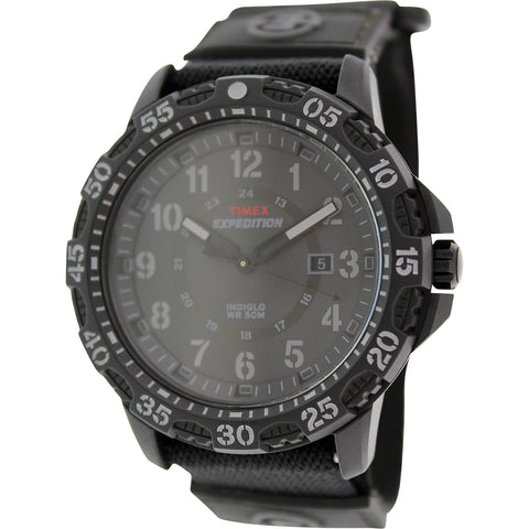 Timex T49994 Expedition Rugged Men's Analog Display Quartz Watch, Black Fabric Band, Round 45mm Case