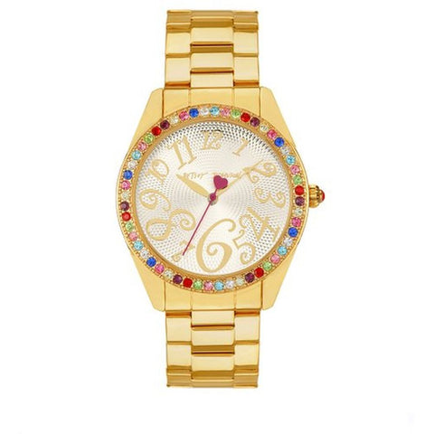 Betsey Johnson BJ00048-57 Women's Multicolor Stone Set Analog Display Quartz Watch, Gold Stainless Steel Band, Round 44mm Case