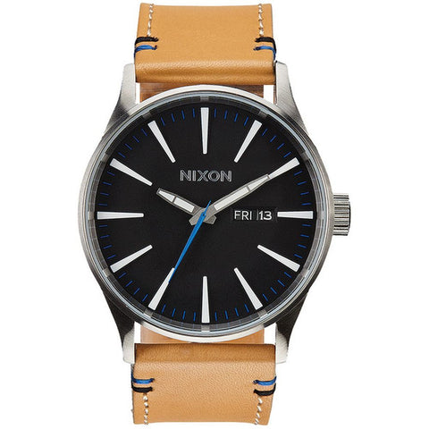 Nixon A1051602 Men's Sentry Leather Natural/Black Analog Watch, Beige Leather Band, Round 42mm Case