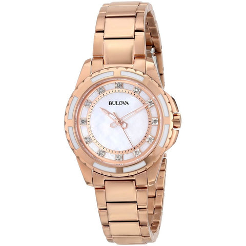 Bulova 98P141 Diamond Analog Display Women's Watch, Rose-Gold Band, Round 32mm Case