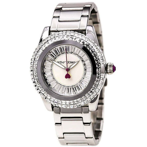 Betsey Johnson BJ00301-01 Women's Analog Display Quartz Watch, Silver Stainless Steel Band, Round 41mm Case