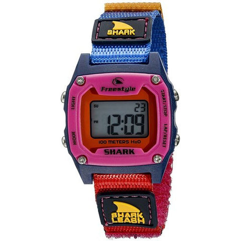 Freestyle 10022927 Unisex Shark Leash Mini Red/Navy/Pink Digital Display Quartz Watch, Multicolor Nylon Velcro Band, Tonneau 30mm Case