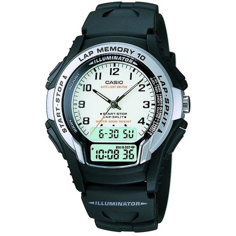 Casio WS-300-7BVSDF Analog/Digital Display Quartz Watch, Black Resin Band, Round 40.5mm Case