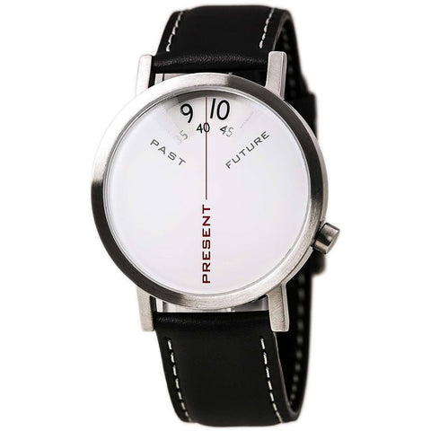 Projects 7214L-40 Past, Present and Future Analog Display Quartz Watch, Black Leather Band, Round 40mm Case