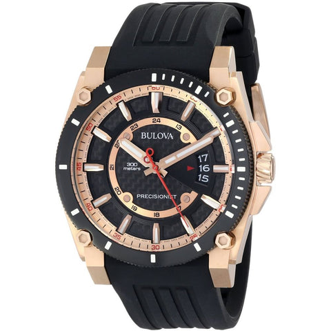 Bulova 98B152 Precisionist Analog Display Quartz Watch, Black Rubber Band, Round 46.5mm Case