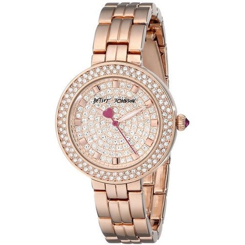 Betsey Johnson BJ00429-03 Women's Analog Display Quartz Watch, Rose Gold Stainless Steel Band, Round 33mm Case