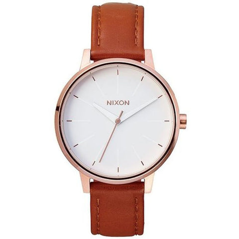 Nixon A1081045 Kensington Leather Rose Gold/White Analog Display Quartz Watch, Brown Leather Band, Round 37mm Case