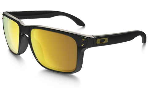 Oakley OO9102-08 Holbrook Sunglasses, Polished Black Frame, 24k Iridium 55mm Lenses