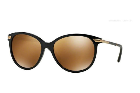 Burberry BE4186 30016H Round Women's Sunglasses, Black Frame, Brown Mirrored 58mm Lens