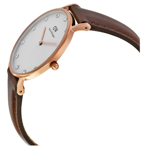 Daniel Wellington 0950DW Classy St. Mawes Quartz Analog Women's Watch, Brown Leather Band, Rose Gold 34m Case
