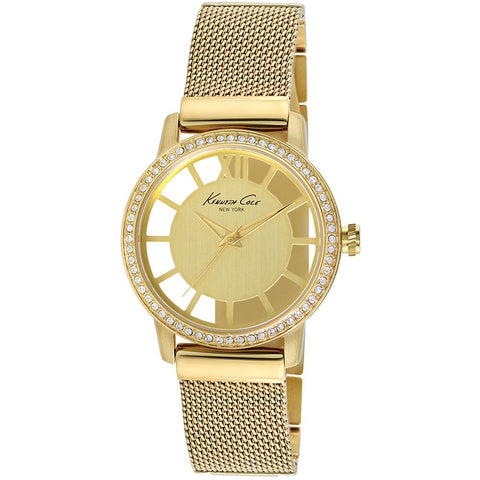 Kenneth Cole KC4956 Transparent Women's Analog Quartz Watch, Yellow Gold Band, Round 36mm Case
