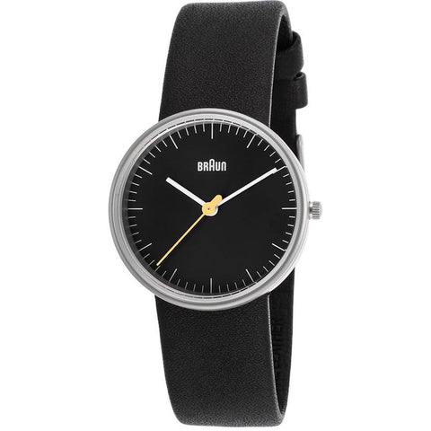 Braun BN0021BKBKL Women's Classic Analog Display Quartz Watch, Black Leather Band, Round 31mm Case