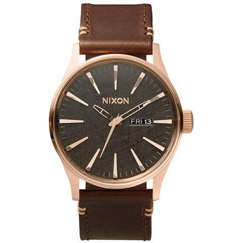 Nixon A1052001 Men's Sentry Leather Rose Gold/Gunmetal/Brown Analog Watch, Brown Leather Band, Round 42mm Case